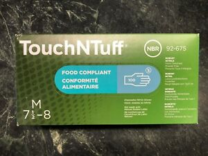3 Boxes Of 100 Ansell Touchntuff Disposable Nitrile Gloves 92 675 Size Medium