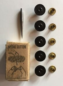 Box Of Five 5 Antique Wedge Bachelor Buttons With Needle Tool 1890