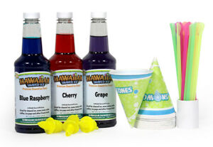 Hawaiian Shaved Ice Shaved Ice And Snow Cone Syrups 3 flavor Fun Pack