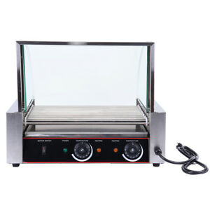 Commercial 24 Hot Dog 9 Roller Grilling Machine Stainless Steel 1260w W Cover