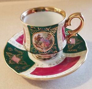 Royal Vienna Demitasse Cup Saucer Set Porcelain Hand Painted Beehive Green