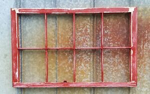 Salvaged Antique Window Sash 8 Pane Wood Window 36x27 Red Chippy Distressed