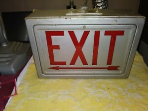 Vintage Metal Glass Lighted 2 Sided Daybrite Exit Sign W Arrows Industrial