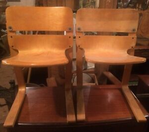 Pair Great Mid Century Modern Eames Era Chairs Floating Bent Plywood Shipping Ok