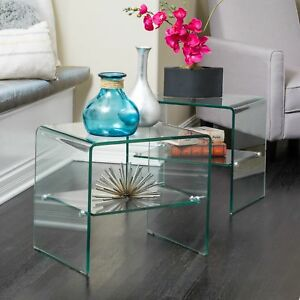 Ramona Transparent Glass End Table With Shelf set Of 2 By Christopher Knight