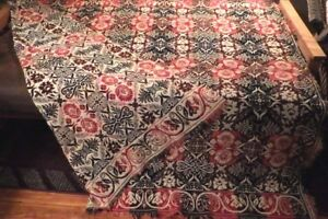 Antique Woven Coverlet Red And Blue Reversible 84 X 78 1840 S