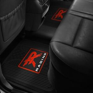 2nd Row Footwell Coverage Black Rubber Floor Mat W Red R Racing Logo Design
