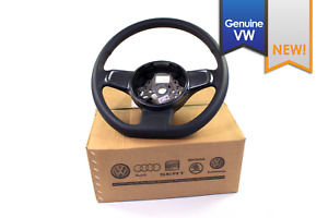 New Genuine Vw Beetle Black Leather Flat Bottom Steering Wheel Grey Trim 12 15