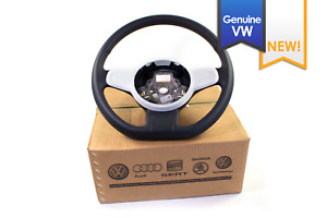 New Genuine Vw Beetle Black Leather Flat Bottom Steering Wheel White Trim 12 15