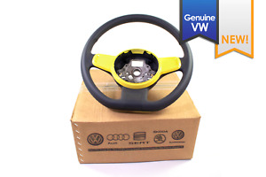 New Genuine Vw Beetle Black Leather Flat Bottom Steering Wheel Yellow Trim 12 15