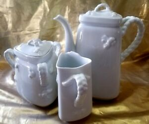 Antique Limoges Haviland Coffee Set Creamer Covered Sugar Coffee Pot Trianger
