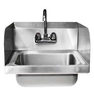 Commercial Kitchen Stainless Steel Wall Mount Hand Sink W Faucet Drain Strainer