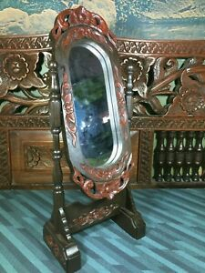 Antiques Thai Wood Carving Dynasty Dresser Stand Mirror Vintage Size Small Face