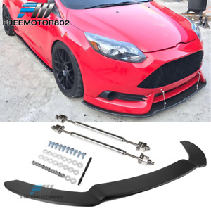 Fits 13 14 Ford Focus St Front Bumper Splitter Lip W Hardware Matte Black Pp