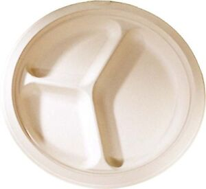 500 Count 10 In Round Disposable Plates With 3 Compartments Natural