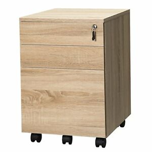 Topsky 3 Drawers Wood Mobile File Cabinet Fully Assembled Except Casters oak