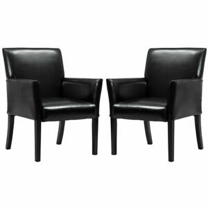 Set Of 2 Pu Leather Guest Chairs Reception Side Arm Chairs Upholstered Wood Leg