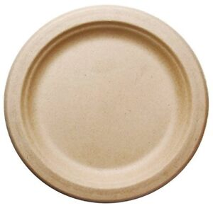 500 Count 7 In Round Disposable Plates Natural Sugarcane Bagasse Bamboo