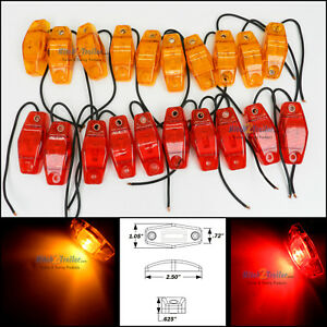 20 Optronics Red Amber Led Light Clearance Marker Trailer Truck Surface 1 Wire
