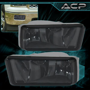 Smoke Lens Chrome Housing Fog Lights Lamp For Silverado Avalanche Tahoe