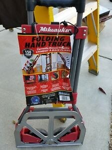 Milwaukee Folding Hand Truck Foldable Trolley Dolly Fold Up 150 Lb Capacity