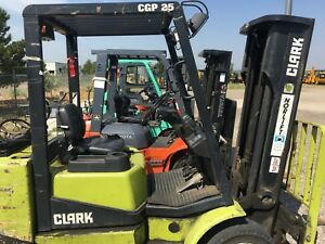 1995 Clark Cgp25 Forklift 4487 Hrs Lp Side Shift Pneumatic
