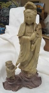 Antique Asian Soapstone Chinese Woman Child Real Nice Piece Circa 1920 S