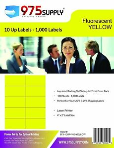 Closeout 975 Supply 10up Address Labels Fluorescent Yellow 100 Sheets 4 X 2