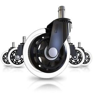 Office Chair Caster Wheels Set Of 5 Heavy Duty Safe For All Floors Including