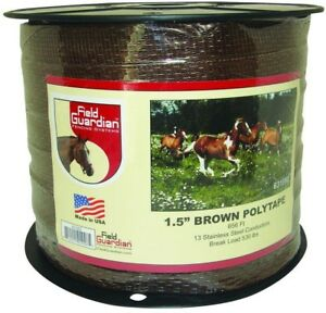 Horse Fence 1 5 In Brown Polytape With 13 Stainless Steel Electric Wire