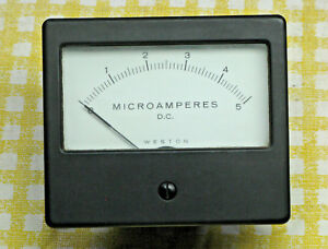 Vintage Weston Analog Panel Meter 0 5 Microamps 3 1 4 Face Tested