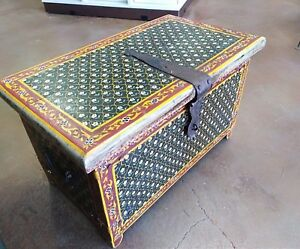 Antique Hand Painted Marriage Cabinet Chest Trunk Folk Art