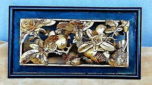 Antique 19c Chinese Wood Gilt Lacquered Pierced Relief Birds Fruits Temple Panel