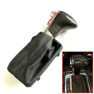Carbon Fiber Leather Gear Shift Knob Gaiter Boot Cover For Audi A4 A5 Q5 2008 15