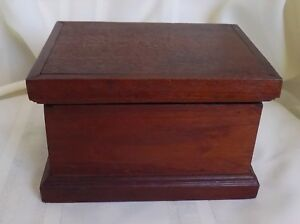Small Antique Box Hinged Cover Breadboard Style Lined Interior
