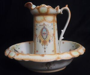 Atq W Adams Co Tunstall Border Victorian Wash Basin Bowl Pitcher Set 5544