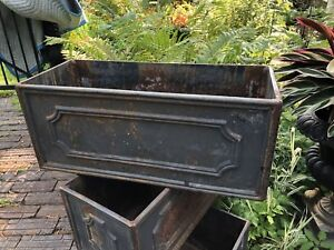 Rare Pair Of Eschbach Antique Vintage Iron Planters Urns