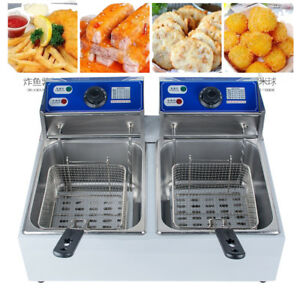 11l 110v Dual Tanks Electric Deep Fryer Commercial Tabletop Fryer basket 5000w
