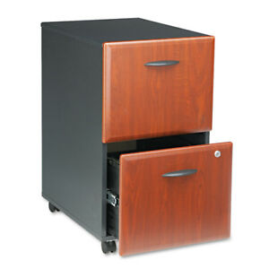 Bush Mobile 2 drawer File Cabinet Cherry marbled Slate