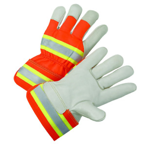 Small High visibility Grain Cowhide Leather Palm Gloves Dozen