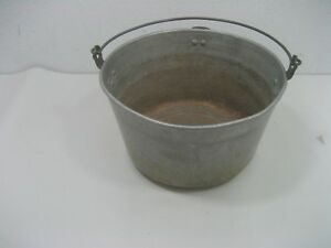 Vintage Silver Aluminum Metal Milk Bucket Rustic Pail With Handle