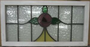 Old English Leaded Stained Glass Window Transom Stunning Floral 34 5 X 17 75