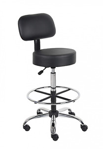 Medical Exam Stool With Back Lab Drafting Chair Adjustable Height Wheels