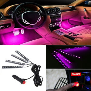 4x9led Car Interior Floor Atmosphere Light Strip Decor Lamp Accessories Pink