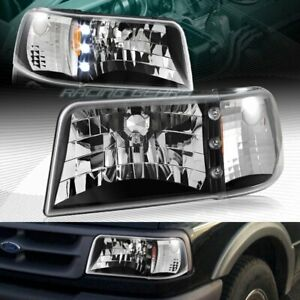 Black Housing Led Head Lights 1 Piece W Amber Reflector Fit 93 97 Ford Ranger