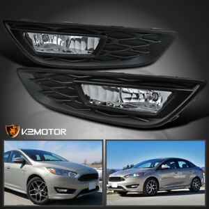 Fit 2015 2017 Ford Focus Clear Front Bumper Fog Lights Driving Lamps h8 Bulbs