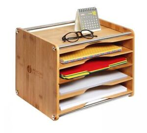 Jackcubedesign 5 Tier Bamboo Office Document File Organizer Desktop Mail