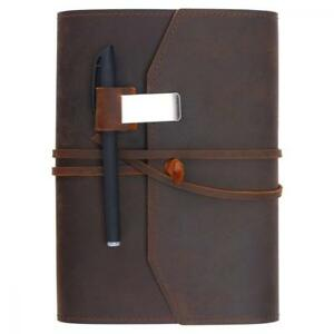 Refillable Leather Journal Writing Notebook Lay Flat Blank Notepad 100