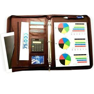Rizwan Zippered Executive 3 Ring Leather Portfolio Binder Organizer Padfolio
