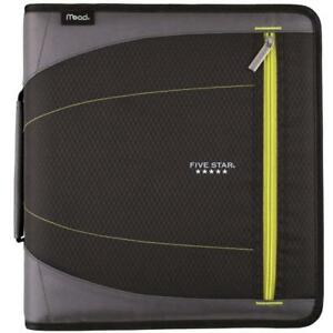 Five Star 2 Inch Zipper Binder 3 Ring Removable File Folders Durable